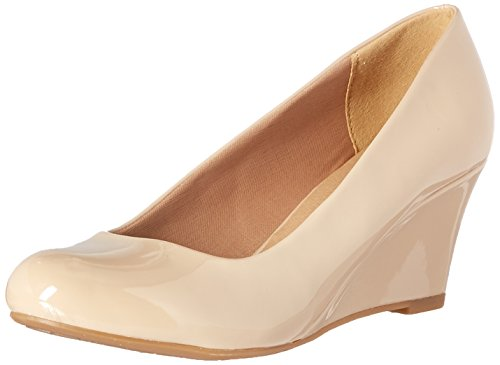 Leather Beige Faux Wedge Mid Forever 23 Pumps Patent DORIS Link Toe Round Heel Womens qIn1w1X7