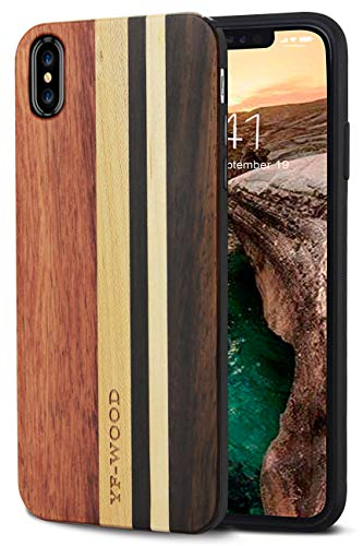 YFWOOD Compatible for iPhone Xs Case Wood, Luxury Unique Geometric Wood Grain Stripe Shockproof Drop Proof Slim Thin Hybrid Silicone Bumper Protection Cover for Apple iPhone X/Xs