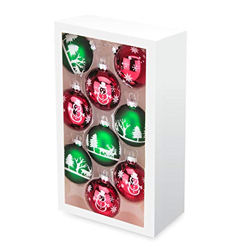 Costyleen Christmas Decoration Colorful Glass Balls Ornaments Set Festival Home Party Decors Xmas Tree Hanging Pendant Reindeer Snowman Snowflake Printing 9pc Red Green 2.7in