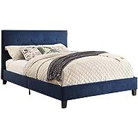 Homelegance Upholstered Queen Platform Bed Frame w/ Tufted Accent Headboard & Footboard, Blue