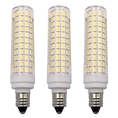 E11 LED Bulb Dimmable Daylight White 6000K Light Bulbs 10W 100W Halogen Bulbs Equivalent Mini Candelabra Base AC120V E11 LED Light Bulbs for Chandeliers Ceiling Fan Light (3 Pack)