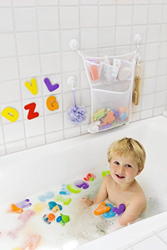 tub cubby bath toy organizer xl baby bath toys bin with 3 extra pockets for soaps shampoos. Black Bedroom Furniture Sets. Home Design Ideas