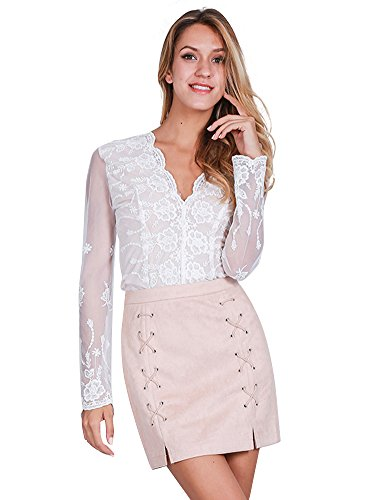 Simplee Apparel Mujeres de alta cintura encaje hasta Slit lápiz Bodycon Suede corto Mini falda Negro: Amazon.es: Ropa y accesorios