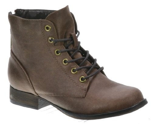Brown Leather High Heel Boot (Breckelles Women's Georgia-43 Faux Leather Ankle High Lace Up Combat Boots (10,)