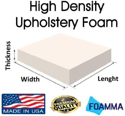 FoamRush 6 x 24 x 27 Upholstery Foam High Density Firm Foam Soft Support Chair Cushion Square Foam for Dinning Chairs, Wheelchair Seat Cushion Replacement