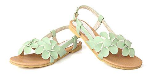 Aisun Damen Mädchen Blumen Sandalen Sommer Strand Schuhe Grün