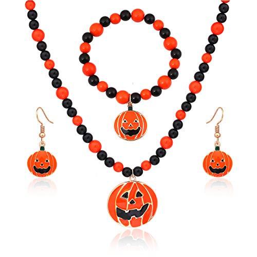 boderier Halloween Beaded Choker Pumpkin Pendant Necklace Pumpkin Drop Earrings Bracelet Sets Jewelry