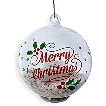 Banberry Designs Merry Christmas Ornament Glass Ball Ornament With Led Light Up Candle And Gold Glittery Snow Inside Happy Holidays