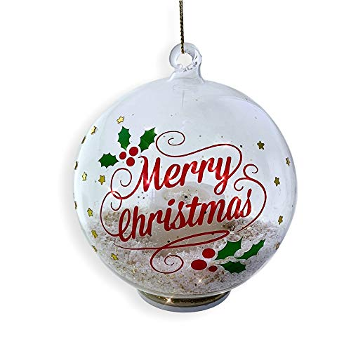 (BANBERRY DESIGNS Merry Christmas Ornament - Glass Ball Ornament with LED Light Up Candle and Gold Glittery Snow Inside - Happy Holidays)