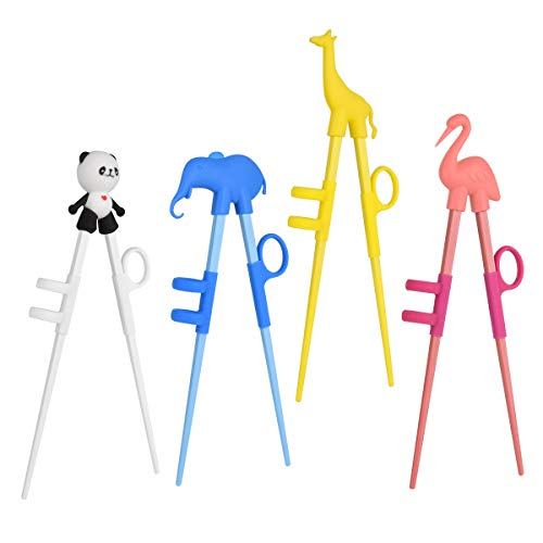 Training Chopsticks,4 Pairs Cute Animal Shape Easy to Use Children's Learning Chopsticks helperWith attachable for Right or Left Handed ChildAdults Beginners ()