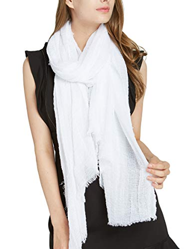 White Crinkle Long Plain Scarf - Pantonight White Solid Spring Scarf for Women Cotton large scarf wrinkle and crinkle solid wrap (scarf 206)