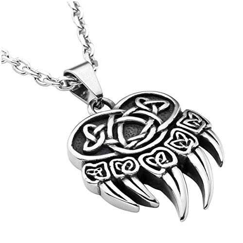 Bear Steel Stainless (Zysta Stainless Steel Retro Legend Vintage Celtic Knot Power Strength Brave Mysterious Symbol Bear Paw Pendant Necklace 22 Inch Chain)