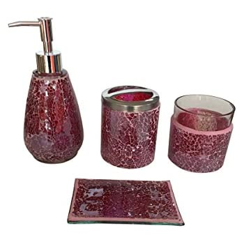 SkyMoving Luxury Bathroom Accessories Set, 4 Piece Mosaic Glass Luxury  Bathroom Gift Set, Includes Soap Dispenser, Toothbrush Holder, Tumbler U0026  Soap Dish ...