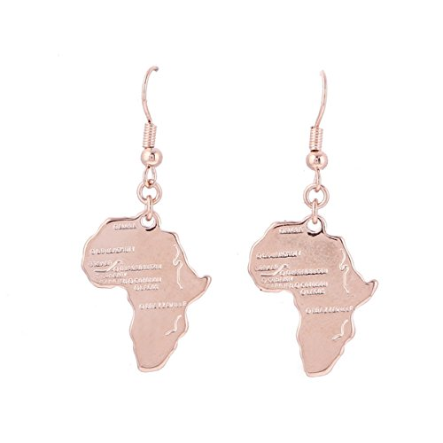 24K Gold Plated African Map Pendant Necklace Jewelry for Women (Rose Gold Plated Earring)