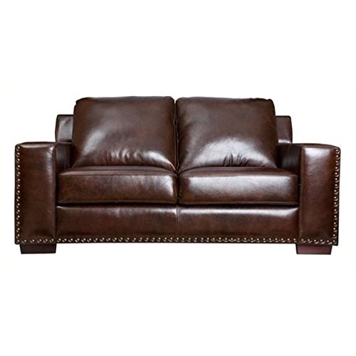 Bowery Hill Leather Loveseat in Brown