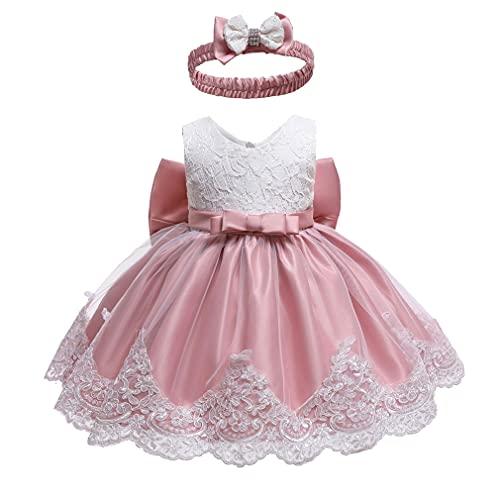 Meisjeskleding voor bruiloft, doop, meisjes, jurk voor baby's, meisjes, strik, bloemen, zonder mouwen