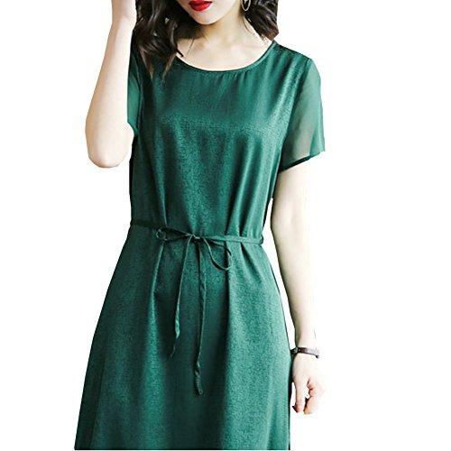 Midi girl Seide Übergröße Damen Grün Cocktail Gestreift Kleid E Kleider S2615 Abendkleid aIqdI0