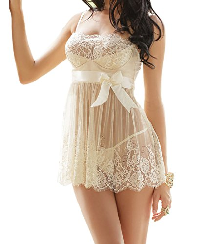 [CRAZY Lingerie Women's Sexy Enticement Lace Chemise Robe Babydoll Sleepwear] (Wire Bra Costume)