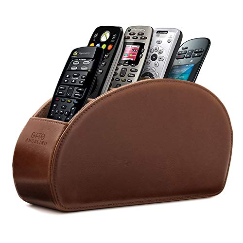 Londo Leather Remote Controller Holder Organizer Store DVD Blu-ray TV Roku or Apple TV Remotes, Dark ()