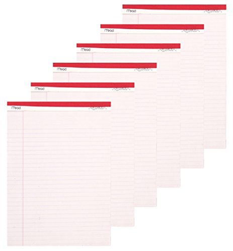 Mead Legal Pad, 8-1/2 x 11-3/4 Inches, Perforated, White, 50 Sheets per Pad, 6 Pack by Mead