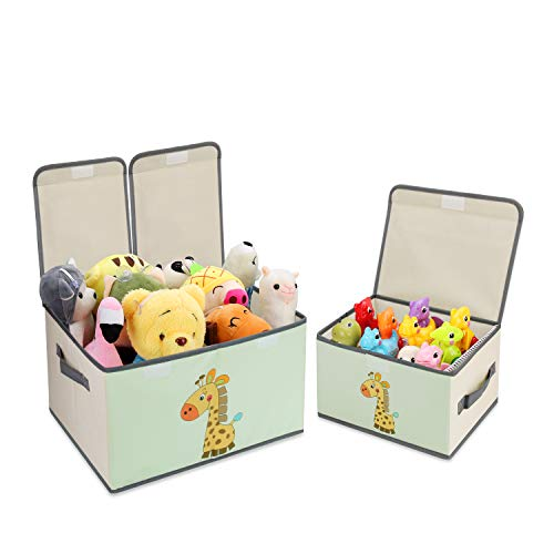 DIMJ Toy ChestLid Large Kids Toy Storage Box Decorative Toy Organizers Fabric Storage BinsHandles for Boys Girls Nursery Clothes Toys Books Shelves Home Organization 2 Pack