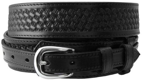 James Western Basketweave Leather Embossed Ranger Belts (42, Black) (Ranger Belt Buckle)