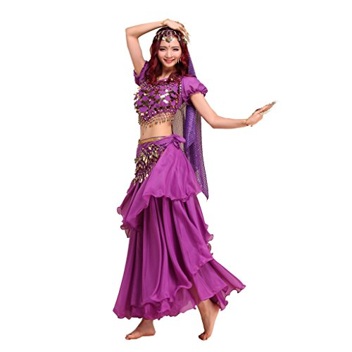Belly Dance Costumes Professional (Pilot-trade lady's Belly Dance Costume Colorful Top&3 Layers Skirt&Hip Scarf Purple)