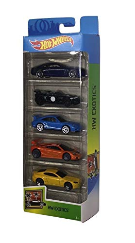 Hot Wheels 2020 HW Exotics 5-Pack (Cadillac Elmiraj, 2015 Jaguar F-Type Project 7, Porsche 911 GT3 RS, McLaren F1 GTR, Aston Martin V8 Vantage)