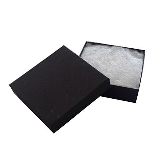 20 Pack Cotton Filled Matte Black Color Jewelry Gift and Retail Boxes 3 X 3 X 1 Inch Size by R J Displays]()