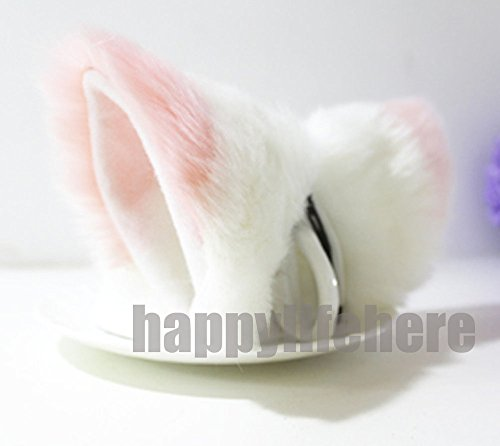Cat Fox Ears Kitty Costume Halloween Cosplay Fancy Dress Pink with white -