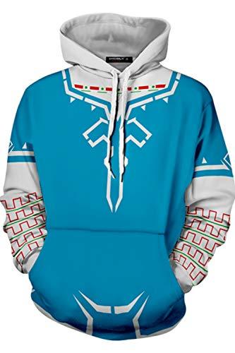 The Legend of Zelda Link Hoodie Sweatshirt Breath of The Wild Cosplay Costume Pullover Top Blue ()