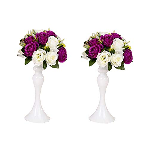 LANLONG 2 Pieces 50cm Height Metal Candle Holder Candle Stand Wedding Centerpiece Event Road Lead Flower Rack (White x 2) (White, 12.5