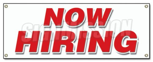 SignMission NOW HIRING BANNER SIGN apply inside hiring signs, 18''x48