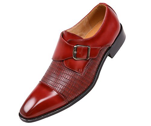 Men's Bressler Cap with Smooth Style One Strap Red Monk Amali Shoe Vamp Oxford Toe Embossed YzqHtwO