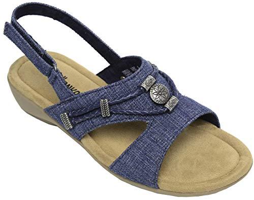 (Minnetonka Womens Sylvia Sandal, Blue Denim, Size 8)