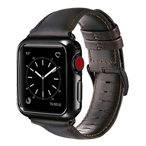 (OUHENG Compatible with Apple Watch Band with Case 38mm, Genuine Leather Band with Plated TPU Protective Case Compatible with Apple Watch Series 3 2 1, Brownish Black Band with Black TPU Case)