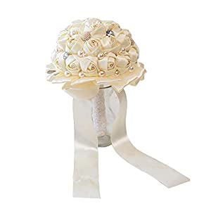 Dds5391 New Artificial Flower Ribbon Faux Pearl Wedding Fake Bridal Bouquet Home Photo Decor - White 76