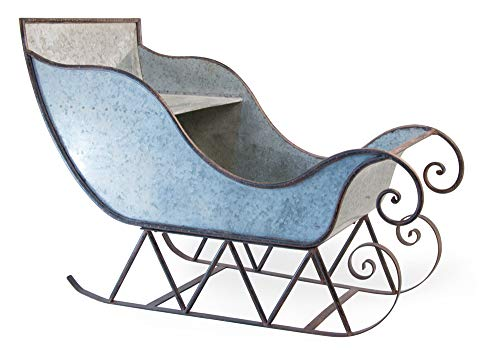 Boston International Galvanized Metal Decorative Sleigh, Silver