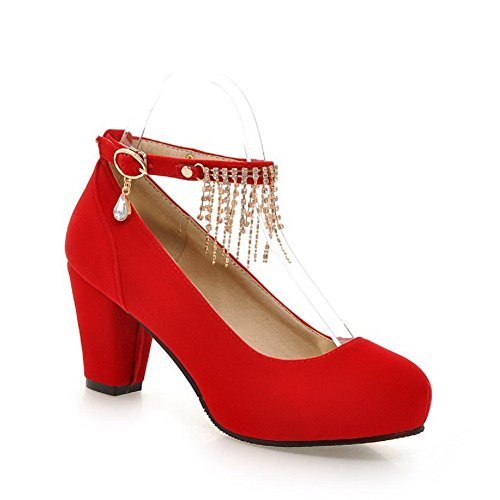 Jäljitelty Suljettu Pumput Mokka Kiinteä Allhqfashion Solki kengät Korkokenkiä Punainen Toe Pyöreä Naisten Rqxw1pCXa