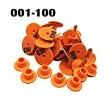 Ioffersuper 100 Pack TPU Ear Tags with Number