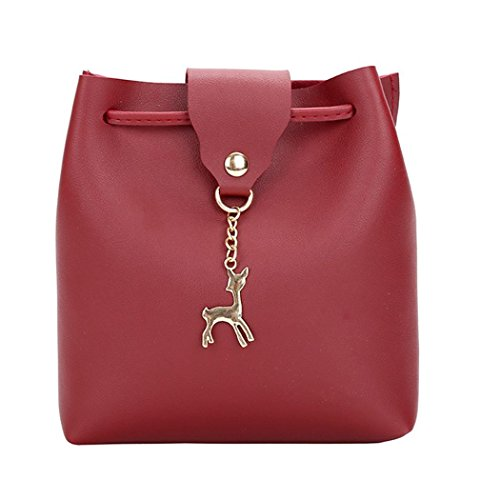 Bolsos de mujer,Morwind bolso pequeño de piel bolso mujer bolsos de fiesta bolsa de deporte mujer bolso de piel vuelta bolso de playa mochilas mujer (17x7x19cm) Rojo