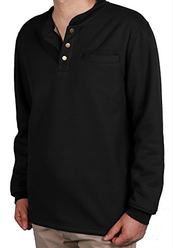 Woodland Supply Co. Men's Sherpa Lined Warm Winter Thermal Henley (Medium, - Woodland Thermal