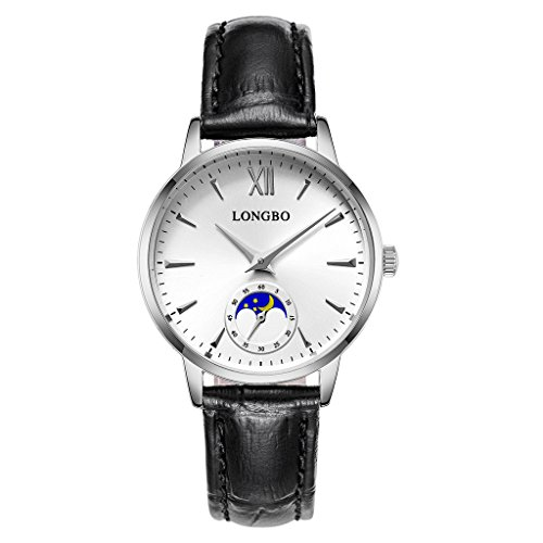 LONGBO Casual Women's Silver Plated Sun Moon Phase Roman Numeral Business Watch Black Leather Band Dress Wristwatch Waterproof Date Couple Watches