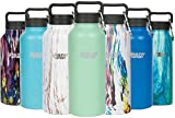 Healthy Human Stainless Steel Vacuum Insulated Water Bottle | Keeps Cold 24 Hours, Hot 12 Hours | Double Walled Water Bottle | Carabiner and Hydro Guide | 32 oz Seamist