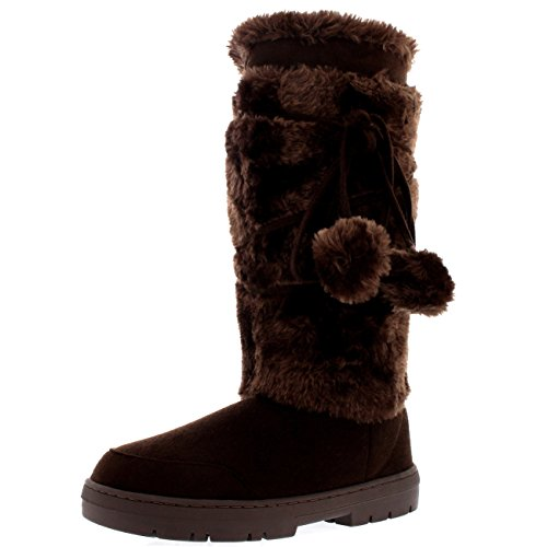 Dames Pom Pom Tall Winter Snow Winter Regen Warm Schoenlaarzen Bruin