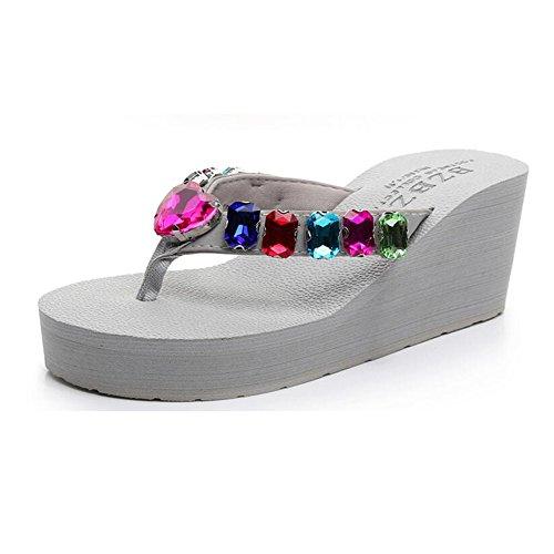 sandalias simples femeninas Color de Tamaño EU36 alto antideslizante de de 2 verano playa tacón Zapatillas 1 UK3 imitación de CN35 diamantes de q6P8E