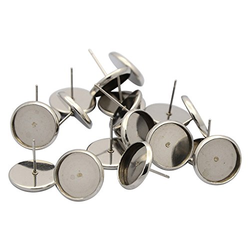 Pandahall 50pcs (25 pairs) 304 Stainless Steel Flat Round Earstud Posts (Tray: 6mm; 8mm, Pin: 0.7mm) ()