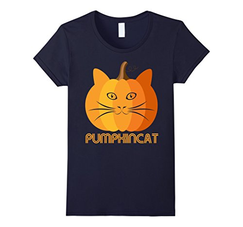 [Womens Cat Pumpkin Shirt Halloween Gift for Kitty Lovers Funny Tee Small Navy] (Homemade Kitty Cat Halloween Costume)