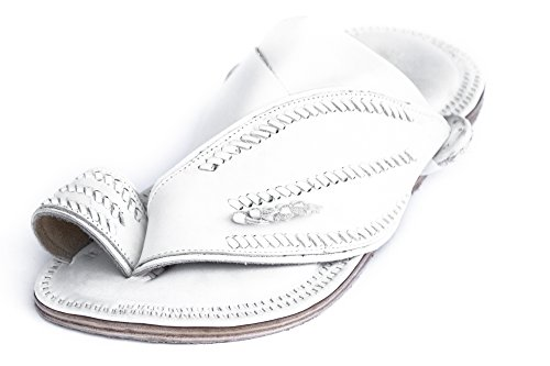 Desert Sandals – Men's Leather Shoes (Size 10, White). Handmade footwear made from soft, comfortable goatskin and rugged, durable camel hide. Exotic f…