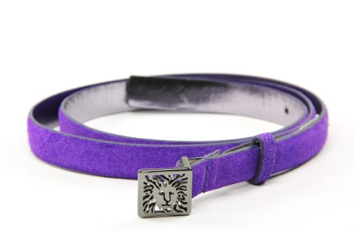 AK Anne Klein Women's Suede Skinny Belt With AK Buckle, Purple, Large (Anne Klein Leather Belt)
